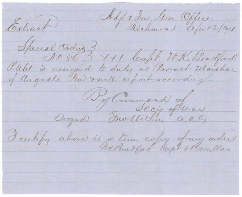 Confederate Provost Marshal   Augusta, GA